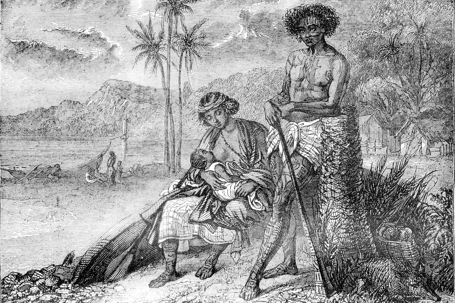 Illustration d'une famille Tahitienne